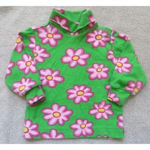 Kelly's Kids Green Pink Flower Shirt Size 6 Months